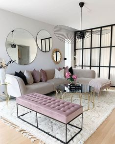 Having small living room can be one of all your problem about decoration home. To solve that, you will create the illusion of a larger space and painting your small living room with bright colors c… Living Room Mirrors, Cozy Living Rooms, Living Room Grey, Home Living Room, Apartment Living, Living Room Furniture, Decorate Apartment, Living Room Goals, Living Area