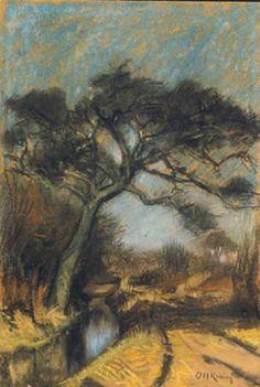 Arnold Koning - Boom in landschap, pasteltekening uit de collectie van het Drentsmuseum.
