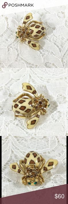 """Joan Rivers """"Joan of the Jungle"""" Leopard Bee Pin Signed Joan Rivers on back and China, leopard enamel pattern, gold tone, and amber rhinestones. Joan Rivers Jewelry Brooches"""