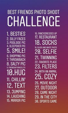 Best Friends Photo Challenge for 30 days!You can find Challenges to do with friends and more on our website. Best Friends Photo C. Best Friend Dates, Best Friend Quiz, Best Friend Pictures, Best Friend Goals, Best Friend Things, Best Friend Challenges, Challenges To Do, Photo Challenges, Things To Do At A Sleepover