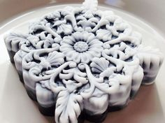 SOAP Black and White Collection, Filigree, Scented in Amaretto Tiramisu, Handmade, Vegetable Based. $7.00, via Etsy.