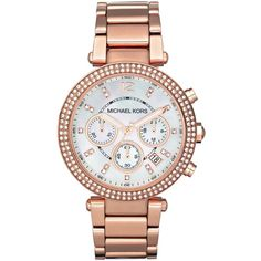 Michael Kors MK5491 Parker rose gold-plated watch ($320) ❤ liked on Polyvore featuring jewelry, watches, accessories, pink, rose gold plated watches, michael kors, pink watches, michael kors jewelry and pink jewelry