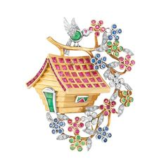 Gold, Platinum, Gem-Set and Diamond Tree House Clip   The roof of the house set with 30 square-cut and 19 calibre-cut rubies, the door accented by 3 rectangular and square-cut emeralds, the bird perched on a branch atop the roof, his body of one round cabochon emerald, its platinum wings decorated with single-cut diamonds, surrounded by blossoms of small round sapphires, rubies and emeralds and diamond-set leaves, circa 1945,