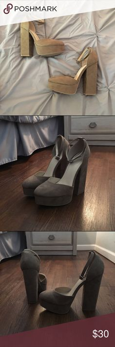 NWT Charlotte Russe Platform Heels Suede-like platforms with ankle straps. Brand new, never worn. No box. Color most like first picture. Charlotte Russe Shoes Platforms