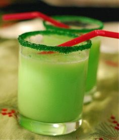 """Grinch Punch"" with Sprite and Lime sherbet and Green Sprinkles/sugar rim. this would be fun the night we watch the movie /or read the book! - Click image to find more Kids Pinterest pins"