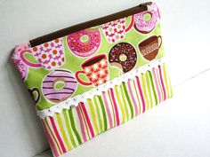 Zip Pouch Donuts and Coffee Pink and Green by stitchuation on Etsy, $9.00