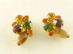 Vintage Pair of D&E Juliana Orange Green Amber Topaz Rhinestone Clip Earrings