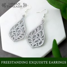 Finish of your outfit with the perfect set of earrings, stitched in metallic thread! Our step-by-step tutorial will show you how to create these earrings using your embroidery machine. Wire Jewelry Rings, Jewellery Earrings, Jewlery, Silk Ribbon Embroidery, Embroidery Patterns, Machine Embroidery, Crotchet Stitches, Freestanding Lace Embroidery, Sarah Kay