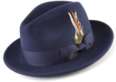 Navy Pinch Front Fedora Satin Lined Crown Feather Accent Wool Felt Adds Extra to the Warmth and Comfort Expensive Suits, Hat For Man, Church Hats, Hats Online, Dress Hats, Cool Hats, Fedora Hat, Hat Sizes, Wool Felt