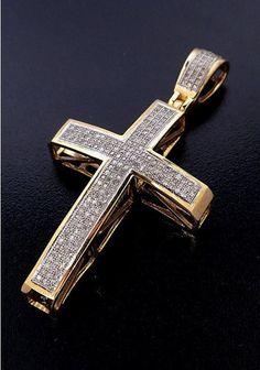 Ladies 10 kt Yellow Gold and.75 ct Diamond Cross Pendant