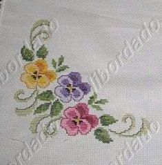 This Pin was discovered by Gül Crewel Embroidery, Cross Stitch Embroidery, Embroidery Designs, Cross Stitch Designs, Cross Stitch Patterns, Ribbon Art, Floral Border, Bargello, Cross Stitch Flowers