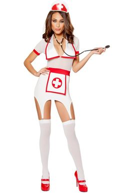 From Roma 2016 costume collection 3 Piece Doctors Naughty Assistant Costume Includes Dress with Collared Detail, Nurse Hat, Stethoscope. Costume featuring a white dress with short sleeves, large collar, red waist band, apron with a cross print, garter clips, matching nurse hat, and stethoscope. #nursecostume  #newcostume #2016costume #romacostume #lingerielux