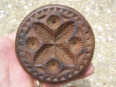 """Beautiful hand carved Butter Print !! Antique Butter Stamp. Butter Mold.  Deeply carved with great """"Hounds Tooth"""" border !!   Sold  Ebay   232.00.      ~♥~"""