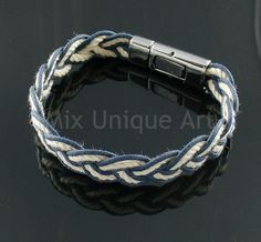 Bracelet for MEN with braid of blue & white cords