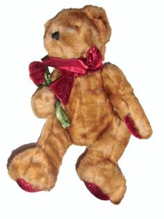 "Valentine Teddy Bear Plush Valentine's Day Teddy Bear Plush Beautiful sparkly, deep Burgundy Rose, Scarf, and Paw Pads Soft and Cuddly for that Special Someone 11"" in Sitting Position"