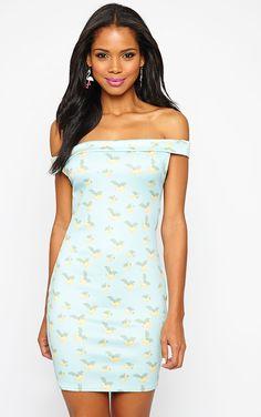 Jayda Banana Print Bardot Dress