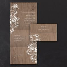Lacy Rustic  Seal 'n Send Invitation  Set by DiscountInvitations