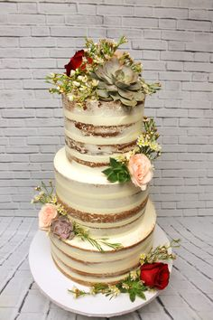So many trends in one cake! Custom Cakes, Wedding Details, Icing, Wedding Cakes, Naked, Wedding Day, Wedding Showers, Creative, 50th