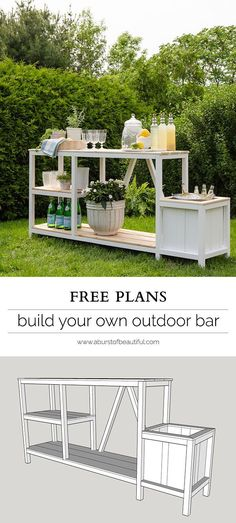 Entertaining + Outdoor Bar Summer entertaining is easy with this beautiful DIY outdoor bar + free plans.Summer entertaining is easy with this beautiful DIY outdoor bar + free plans. Outside Living, Outdoor Living, Diy Außenbar, Diy Crafts, Easy Diy, Diy Outdoor Bar, Outdoor Plant Table, Tropical Outdoor Decor, Outdoor Garden Bar