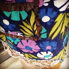 Handmade skirt by me vintage fabric & lace used. #fashion #vintage #craft #handmade #whatiworetoday #handicraft