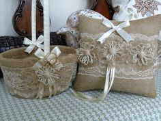 Burlap Ring Bearer Pillow, Flower Girl Basket With / Ivory Lace Country / Rustic / Outdoor