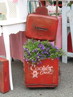 antique cooler planter  I just love this..and have just the cooler to make it in!