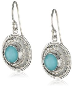 Anna Beck Designs %22Gili%22 Sterling Silver Wire rimmed Turquoise Disk Drop Earrings