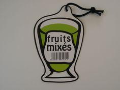 """Une des étiquettes/recettes de """"metsRecettes 2"""". Création Christine Billarant. Creations, Fruit, Recipes"""