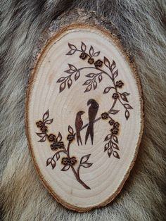 Wood medallion with personalized motif pyrography by ForestTracks