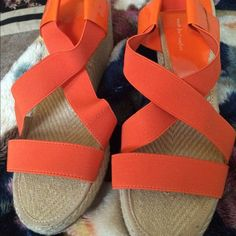 What Orange is the new Black Sandals NWOT These are orange sandals size 7 they have an elastic upper and the sane around the ankle there so comfortable never worn I loved these do much that I bought them in every color the bottom heel loos like an espadrille material but I'm sure it's not real so all the pics AJ Valenci Shoes Sandals