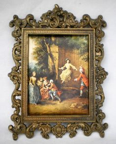 BEAUTIFUL VINTAGE Ca 1950's ITALIAN ROCOCO INSPIRED SILK PRINT WITH BRASS FRAME