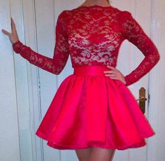 Sexy High Neckline Long Sleeves Homecoming Dresses,Lace Top Homecoming Dresses,Red Short Prom Dresses,Homecoming Cocktial Party Gown,Prom Dresses 2016