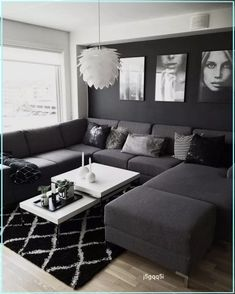 Living Room Decor Cozy, Living Room Grey, Living Room Interior, Black White And Grey Living Room, Black Living Room Furniture, Living Room Themes, Living Room Ideas House, Black Furniture, Decor Room