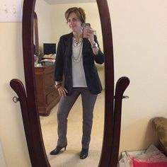 I wore this #ootd recently, and you all loved it, so I wore it again with some different #Jewelry this time! #stitchfix Margaret M pants, #loft blouse, and #cabiclothing tuxedo jacket. #SilpadaStyle  pieces featured the Glamour and Raven Review necklaces. #fashion #Jewelry #fallfashion #fashionover40 #officechic #womeninbusiness #whatiwore