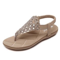 e62a7ff3626817 Bohemia Rhinestones Clip Toe Elastic Band Flat Beach Sandals is comfortable  to wear. Shop on NewChic to see other cheap women sandals on sale Mobile.