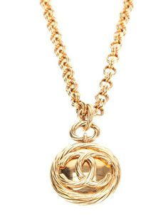 CHANEL VINTAGE Logo Pendant Necklace  #farfetch