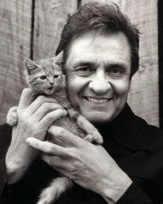 Johnny Cash with kitten.