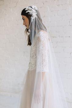 Wedding Veil, Juliet Cap Veil ,Lace Wedding Veil, Chapel Cathedral Veil, Wedding Cap Veil, Ivory Veil, Bohemian Veil, 3D Floral Veil - Grace
