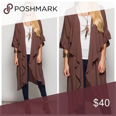 Gauze long cardigan Brown long gauze cardigan Jackets & Coats