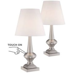 Set of 2 Brooks Brushed Nickel Touch On-Off Table Lamps - Style # Wall Clock Design, Lamp Design, Contemporary Table Lamps, Modern Table, Tall Lamps, White Lamp Shade, Touch Lamp, Thing 1, Bedroom Night Stands
