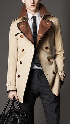 Mid-Length Wool Collar Cotton Gabardine Trench Coat » $2,295