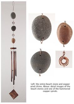 Wind Chime Beach Stones Copper Natural Stone by CoastChimes, $185.00