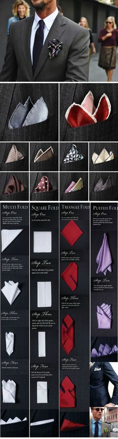 Different types of pocket square folds for suits!