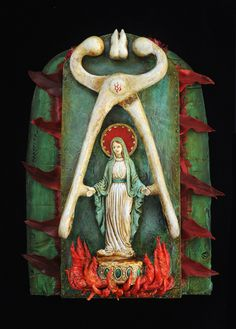 """Saint Apollonia """"Always depicted with tooth extractors, a molar and fire, she heals those suffering from toothaches or other dental problems."""""""