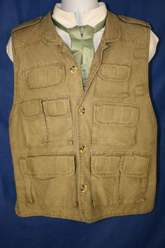 Vest for a Safari Exploration Gilet Fishing Multi Pockets Mens M Green Vest #Steampunk #TrailDesigns