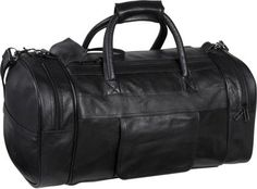 AmeriLeather Leather Dual Zippered Duffel Black - via eBags.com!