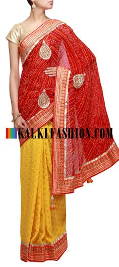 Buy Online from the link below. We ship worldwide (Free Shipping over US$100) http://www.kalkifashion.com/half-and-half-bandhani-saree-in-red-and-yellow-highlighted-in-zari-embroidery.html Half and half bandhani saree in red and yellow highlighted in zari embroidery