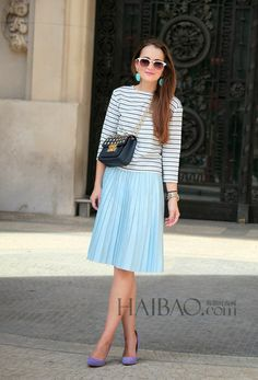 Striped shirt and sky blue skirt, a lady like spring outfit.