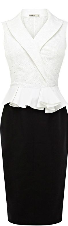 Karen Millen ● Geometric Broderie Dress by shmessa- Karen Mi… – Wedding Dresses White Fashion, Work Fashion, Fashion Outfits, Womens Fashion, Fashion Design, Dress Skirt, Peplum Dress, Dress Up, Karen Millen