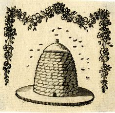 Billhead for a wax chandler, showing beehive on circular base, bees flying around the top, garland of flowers above, hanging down both sides; proof<br/>Wood-engraving